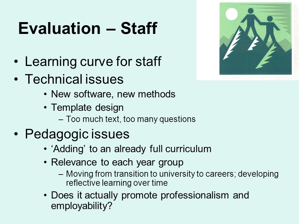 Evaluation – Staff Learning curve for staff Technical issues New software, new methods Template design –Too much text, too many questions Pedagogic issues Adding to an already full curriculum Relevance to each year group –Moving from transition to university to careers; developing reflective learning over time Does it actually promote professionalism and employability