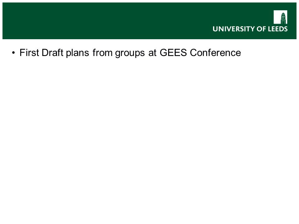 First Draft plans from groups at GEES Conference