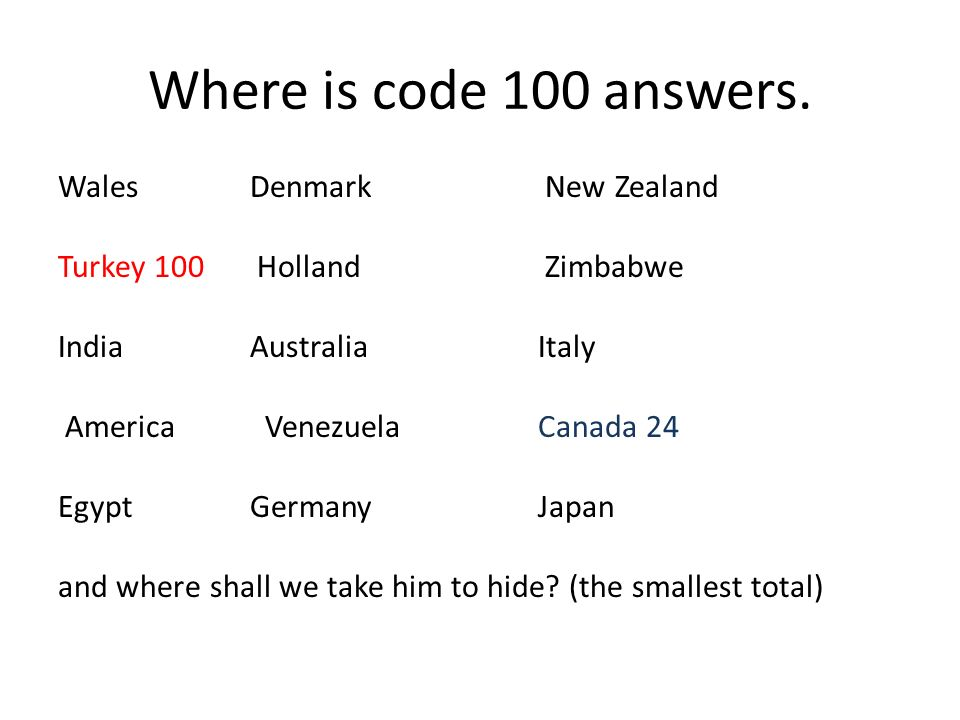 Where is code 100 answers.
