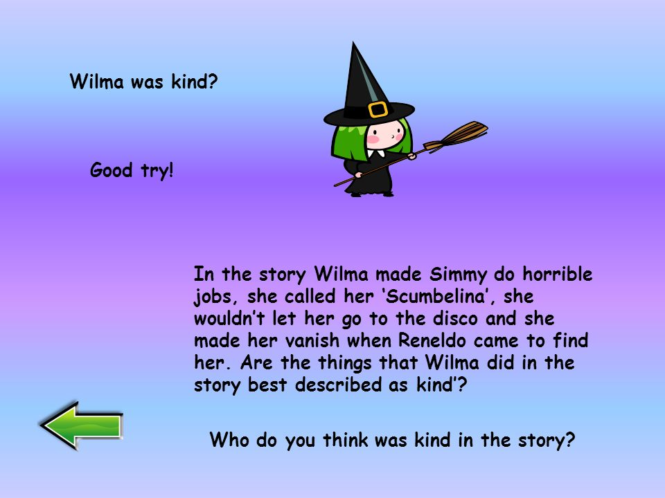 This character is Wilma. Well done. Thats right.