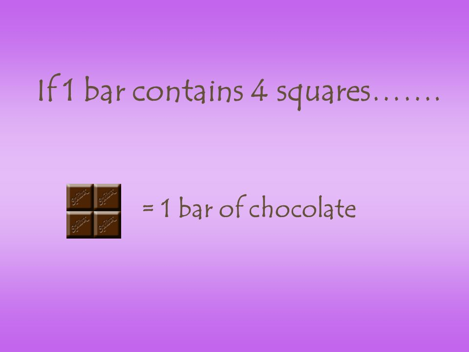 If 1 bar contains 4 squares……. = 1 bar of chocolate