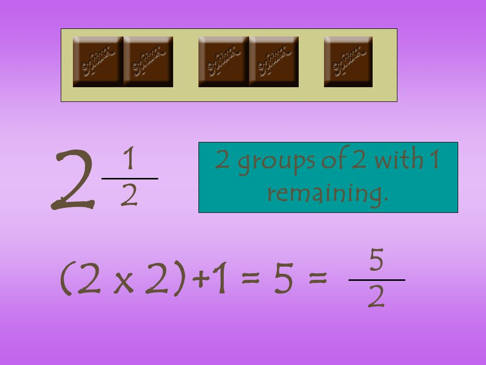 1 2 2 2 groups of 2 with 1 remaining. (2 x 2)+1 = 5 = 5 2