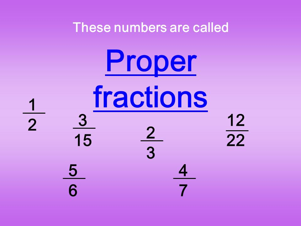 These numbers are called Proper fractions 1212 3 15 5656 2323 4747 12 22