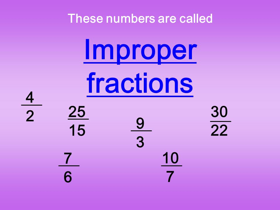 These numbers are called Improper fractions 4242 25 15 7676 9393 10 7 30 22