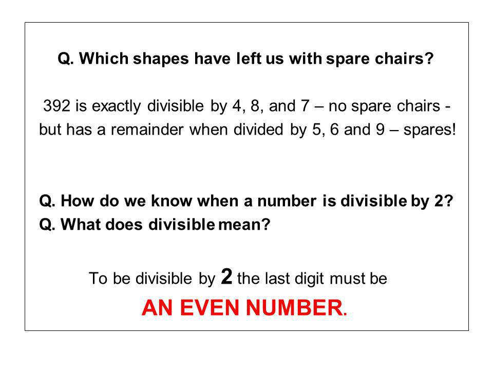 Q. Which shapes have left us with spare chairs.