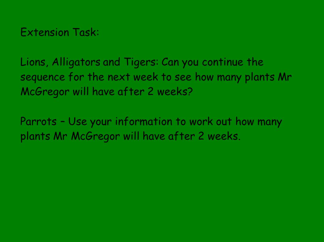 Extension Task: Lions, Alligators and Tigers: Can you continue the sequence for the next week to see how many plants Mr McGregor will have after 2 weeks.