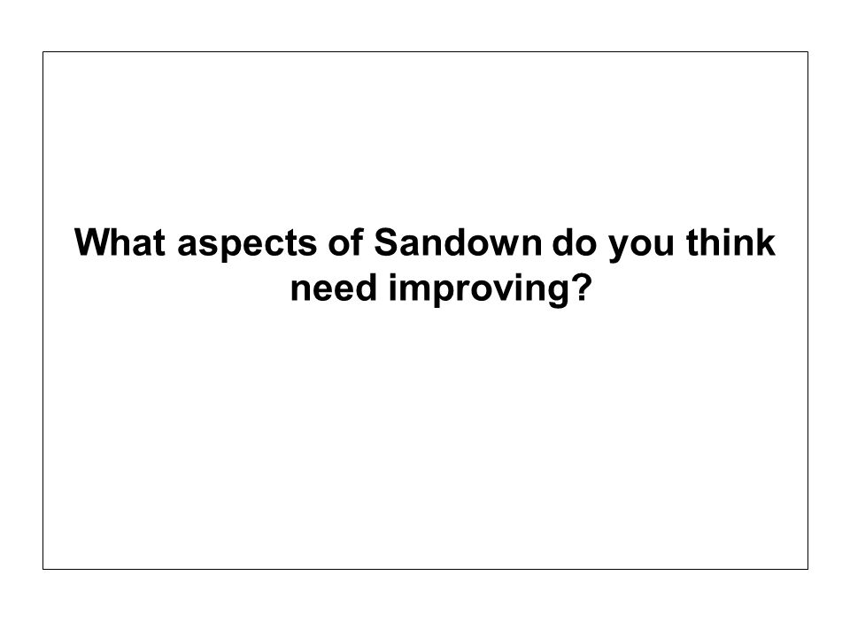 What aspects of Sandown do you think need improving