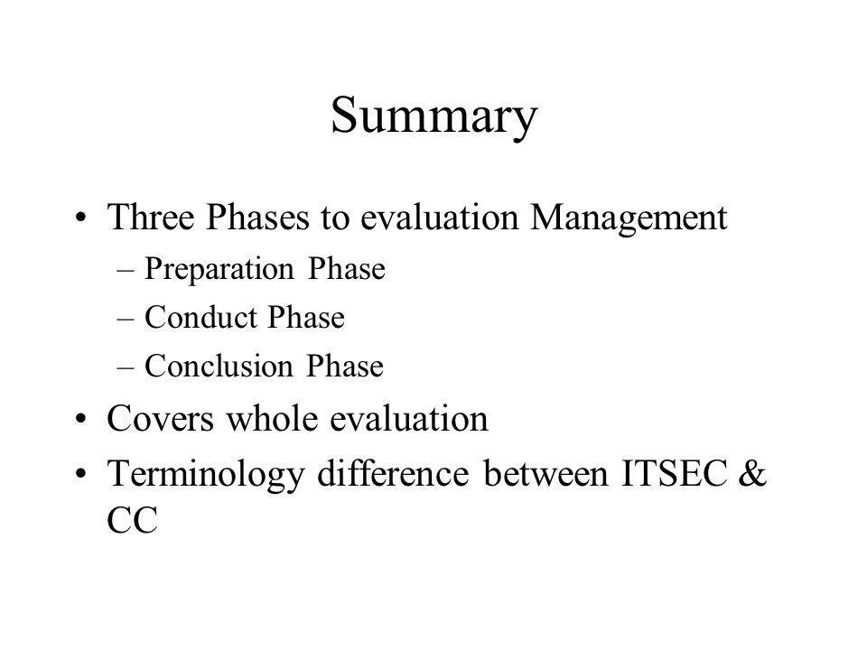 Summary Three Phases to evaluation Management –Preparation Phase –Conduct Phase –Conclusion Phase Covers whole evaluation Terminology difference between ITSEC & CC
