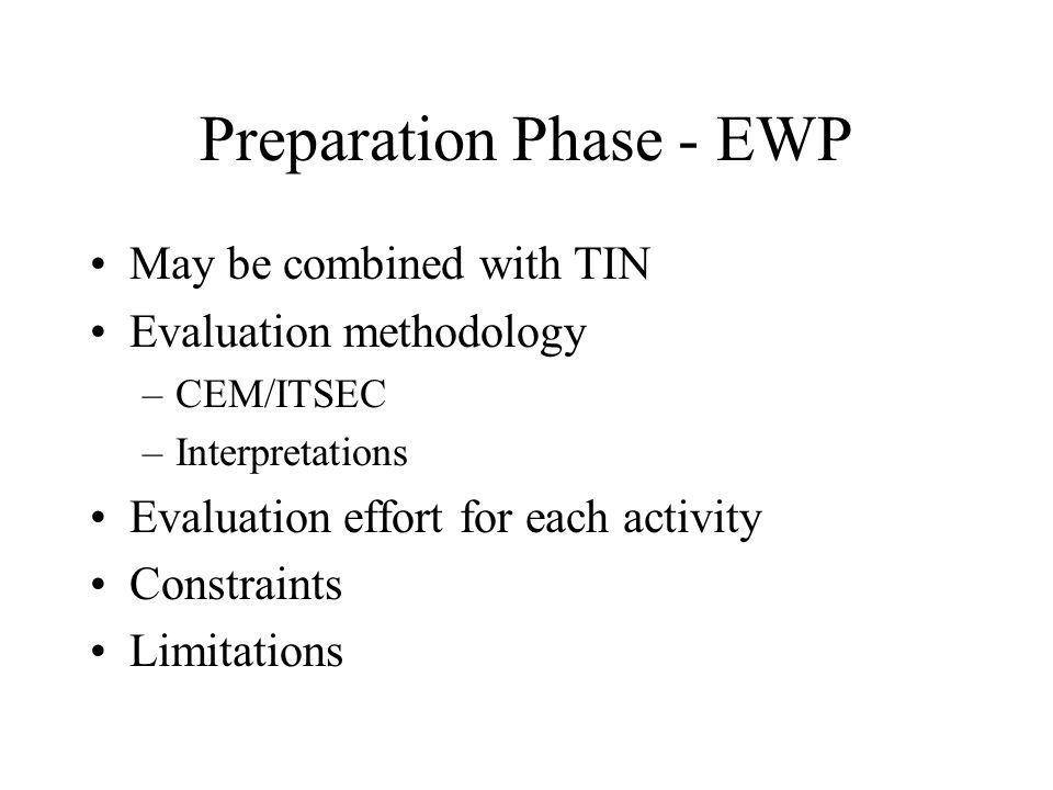 Preparation Phase - EWP May be combined with TIN Evaluation methodology –CEM/ITSEC –Interpretations Evaluation effort for each activity Constraints Limitations
