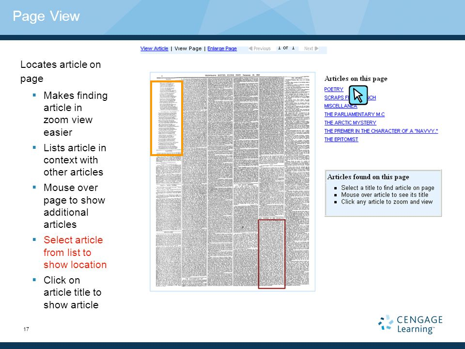17 Page View Locates article on page Makes finding article in zoom view easier Lists article in context with other articles Mouse over page to show additional articles Select article from list to show location Click on article title to show article