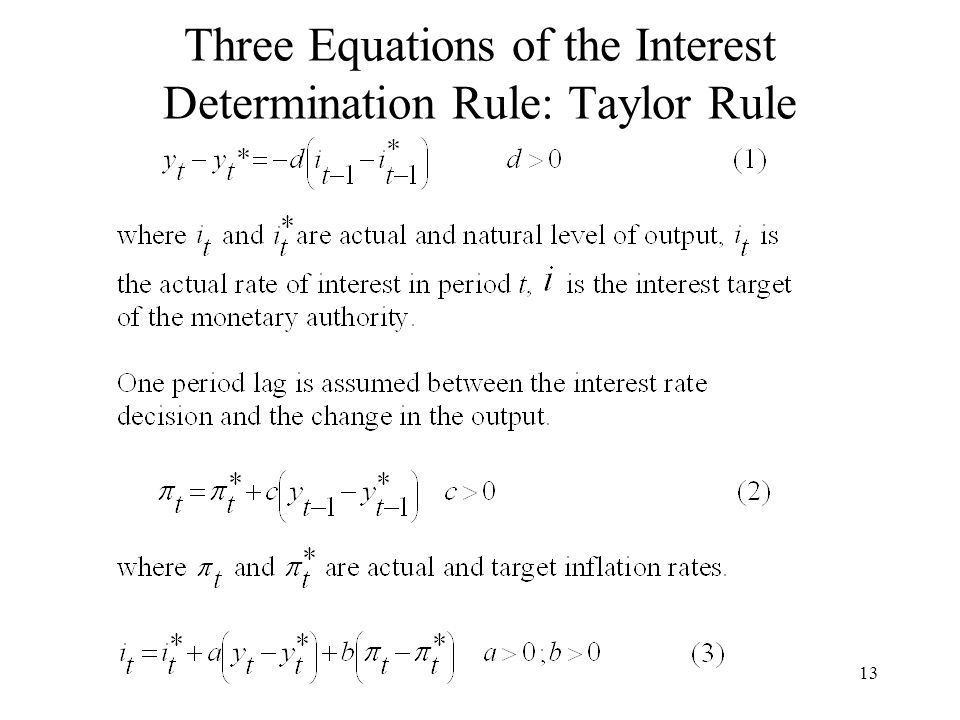 13 Three Equations of the Interest Determination Rule: Taylor Rule