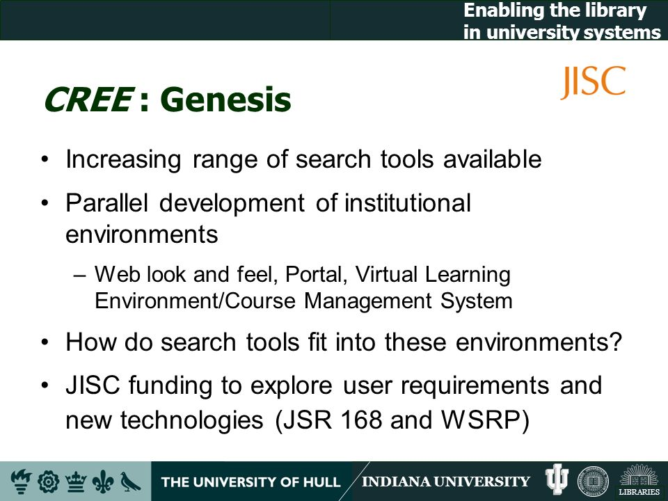 INDIANA UNIVERSITY LIBRARIES Enabling the library in university systems CREE : Genesis Increasing range of search tools available Parallel development of institutional environments –Web look and feel, Portal, Virtual Learning Environment/Course Management System How do search tools fit into these environments.