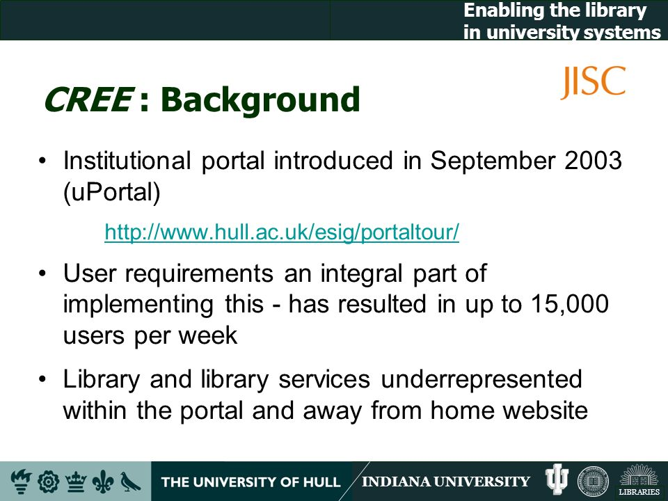 INDIANA UNIVERSITY LIBRARIES Enabling the library in university systems CREE : Background Institutional portal introduced in September 2003 (uPortal) http://www.hull.ac.uk/esig/portaltour/ User requirements an integral part of implementing this - has resulted in up to 15,000 users per week Library and library services underrepresented within the portal and away from home website