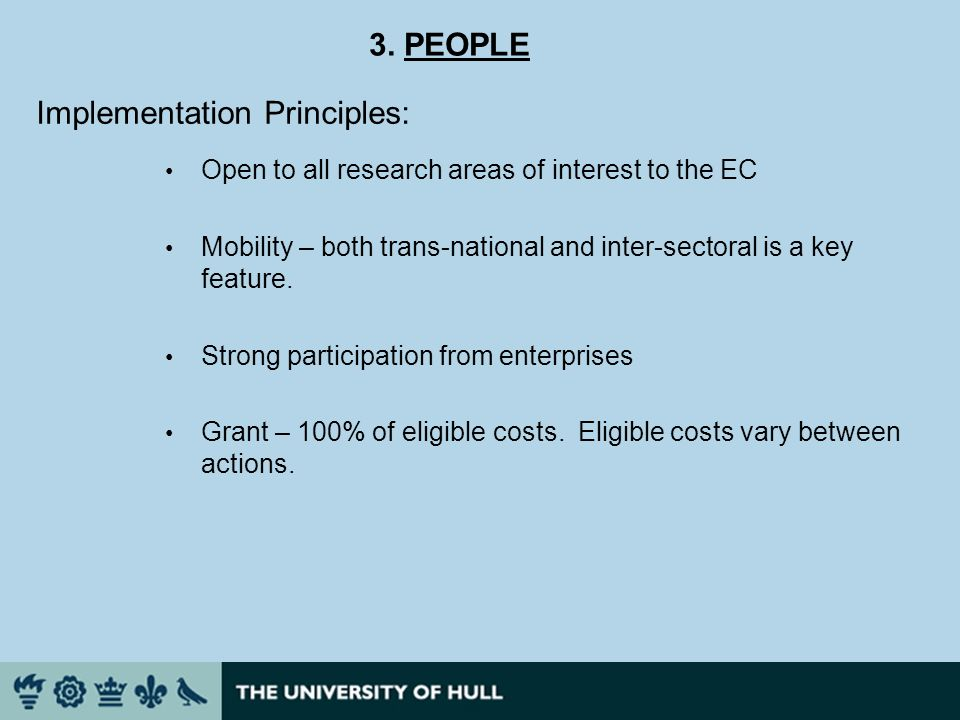 Open to all research areas of interest to the EC Mobility – both trans-national and inter-sectoral is a key feature.