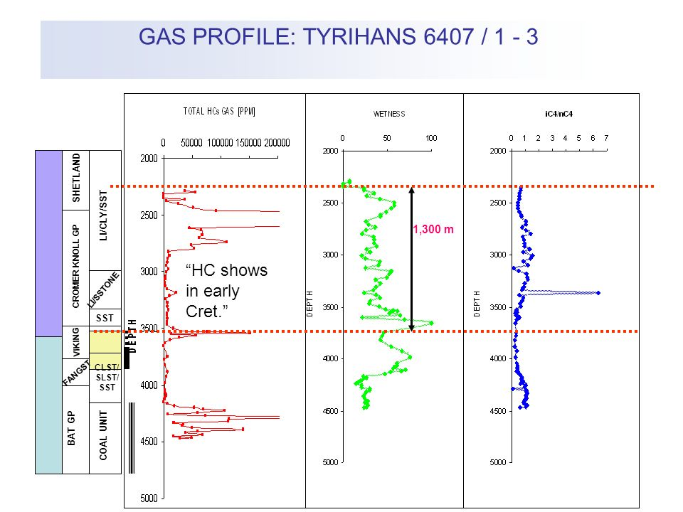 SST/ CLST SHETLAND CROMER KNOLL GP VIKING FANGST BAT GP LI/CLY/SST LI/SSTONE SST CLST/ SLST/ SST COAL UNIT GAS PROFILE: TYRIHANS 6407 / 1 - 3 1,300 m HC shows in early Cret.