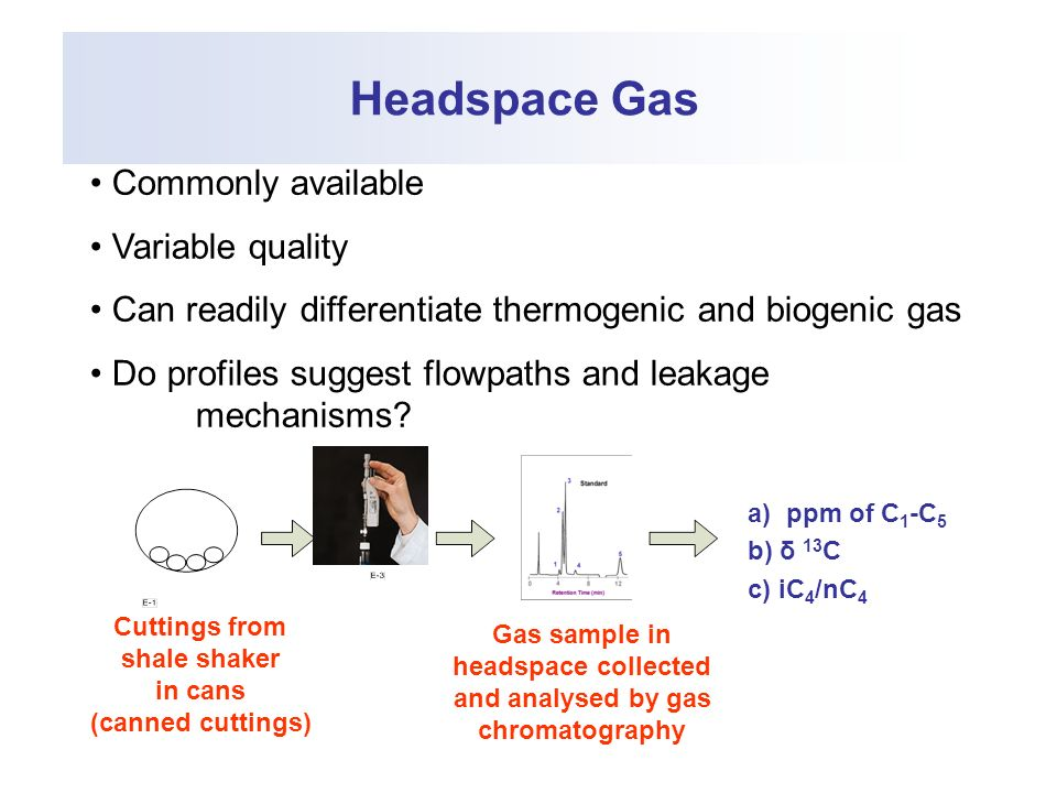 Headspace Gas Cuttings from shale shaker in cans (canned cuttings) Gas sample in headspace collected and analysed by gas chromatography a) ppm of C 1 -C 5 b) δ 13 C c) iC 4 /nC 4 Commonly available Variable quality Can readily differentiate thermogenic and biogenic gas Do profiles suggest flowpaths and leakage mechanisms