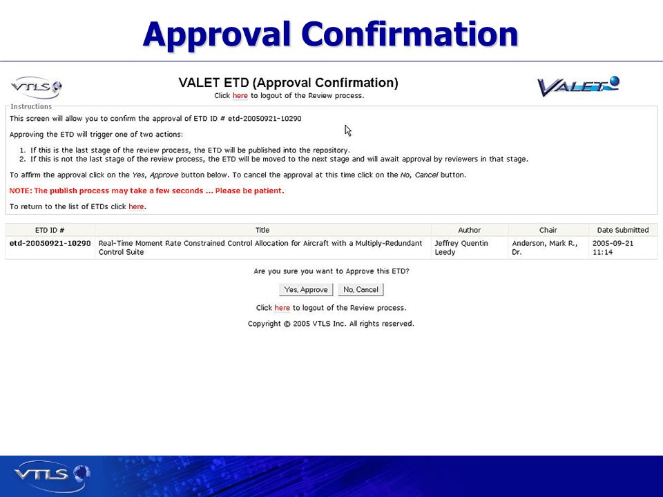 Visionary Technology in Library Solutions Approval Confirmation