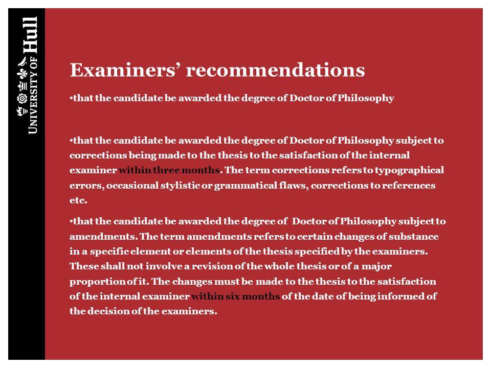 Examiners' information