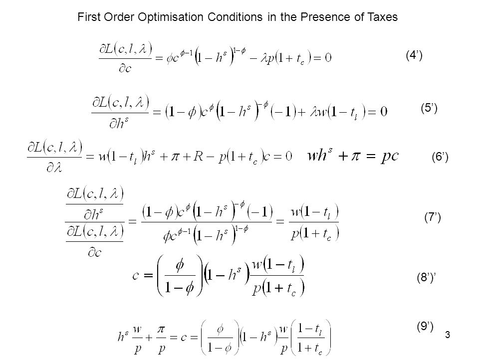 3 First Order Optimisation Conditions in the Presence of Taxes (4) (5) (6) (7) (8) (9)