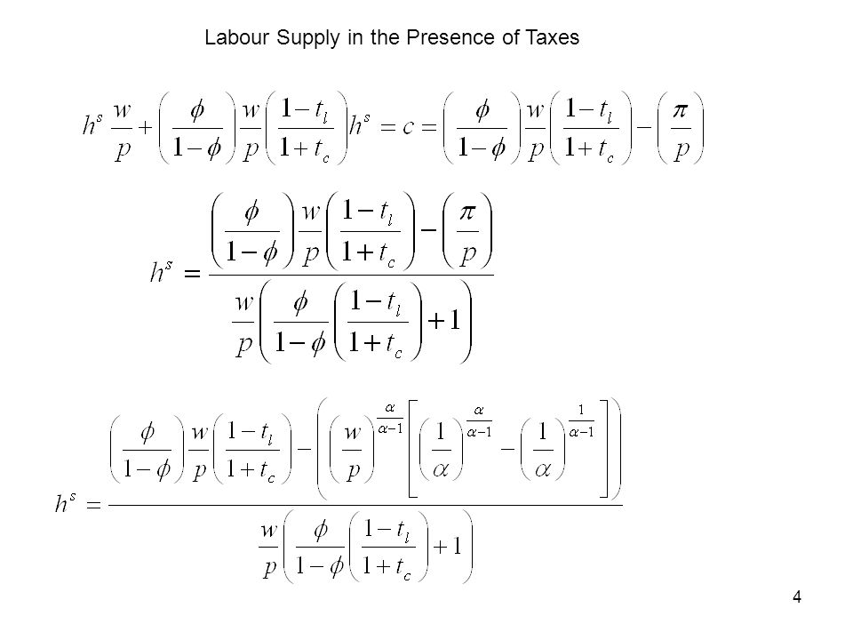 4 Labour Supply in the Presence of Taxes