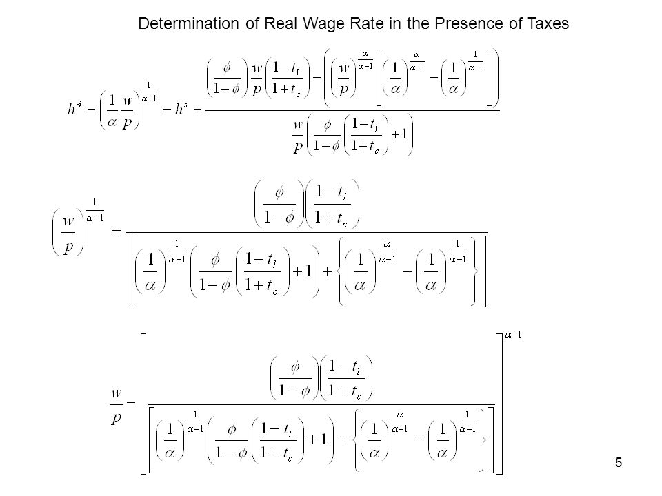5 Determination of Real Wage Rate in the Presence of Taxes