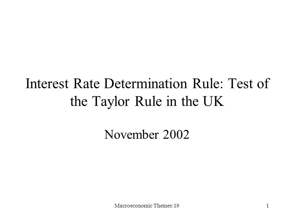 Macroeconomic Themes:191 Interest Rate Determination Rule: Test of the Taylor Rule in the UK November 2002