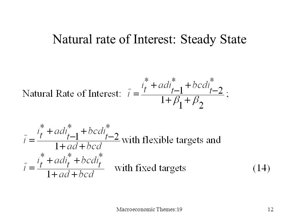 Macroeconomic Themes:1912 Natural rate of Interest: Steady State