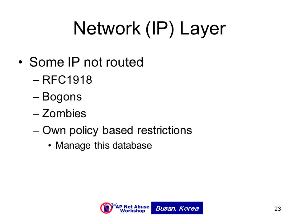 23 Network (IP) Layer Some IP not routed –RFC1918 –Bogons –Zombies –Own policy based restrictions Manage this database