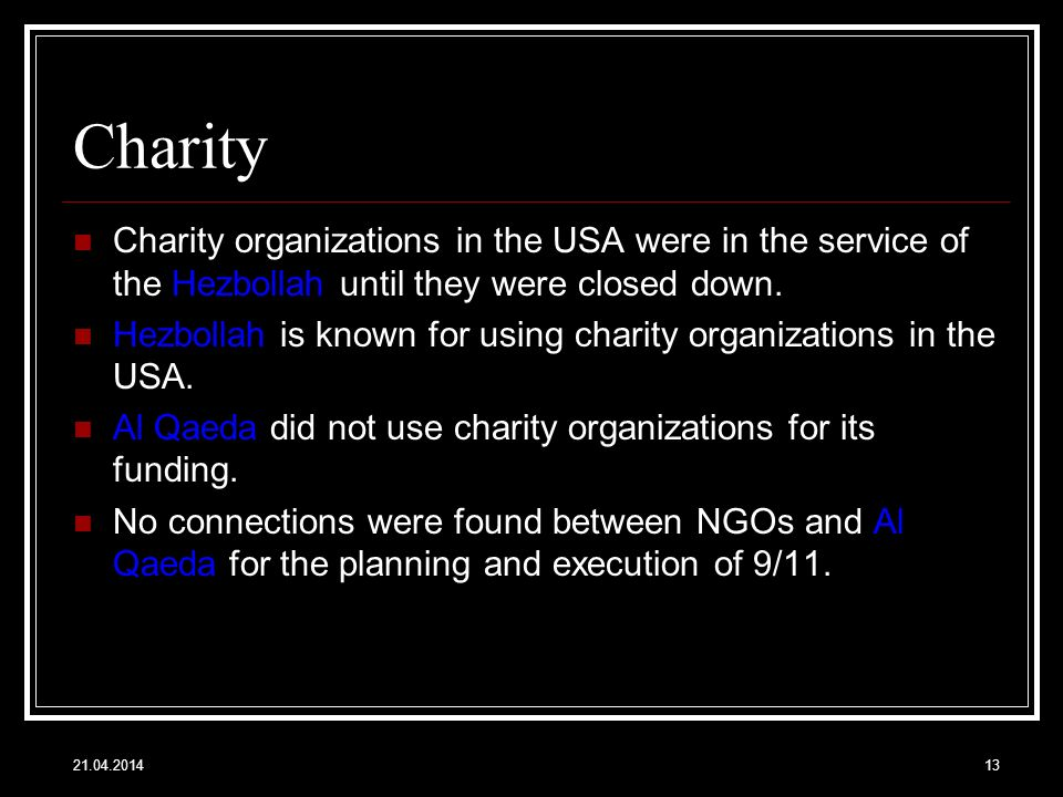Charity Charity organizations in the USA were in the service of the Hezbollah until they were closed down.