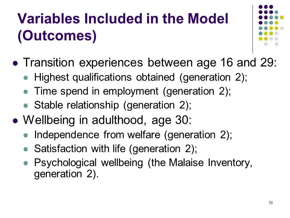 10 Variables Included in the Model (Outcomes) Transition experiences between age 16 and 29: Highest qualifications obtained (generation 2); Time spend in employment (generation 2); Stable relationship (generation 2); Wellbeing in adulthood, age 30: Independence from welfare (generation 2); Satisfaction with life (generation 2); Psychological wellbeing (the Malaise Inventory, generation 2).