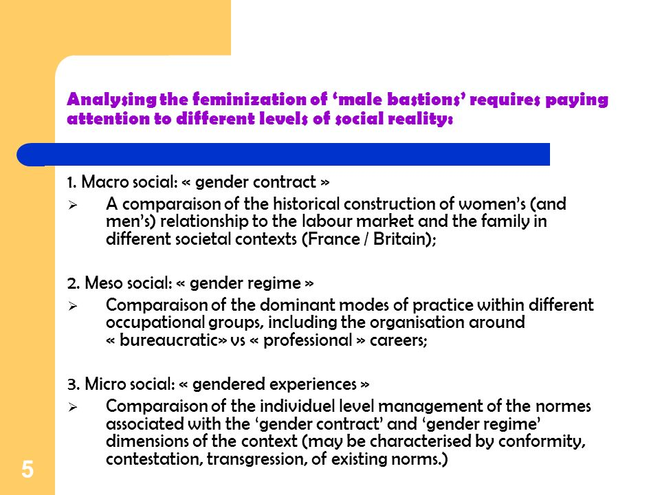 5 Analysing the feminization of male bastions requires paying attention to different levels of social reality: 1.