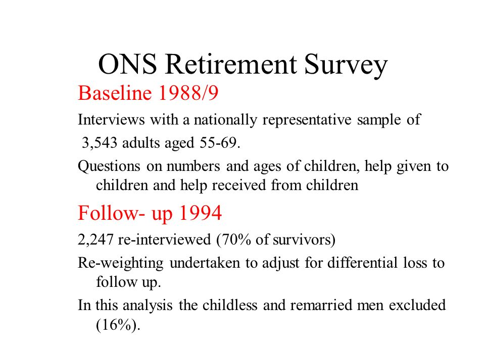 ONS Retirement Survey Baseline 1988/9 Interviews with a nationally representative sample of 3,543 adults aged 55-69.