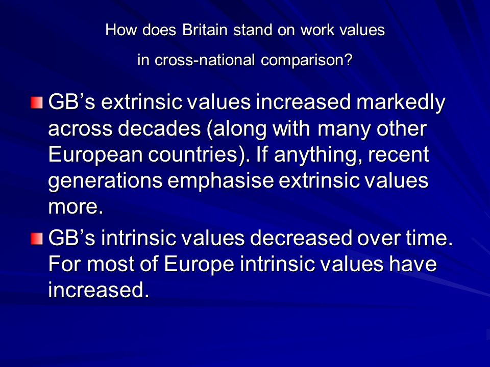 How does Britain stand on work values in cross-national comparison.