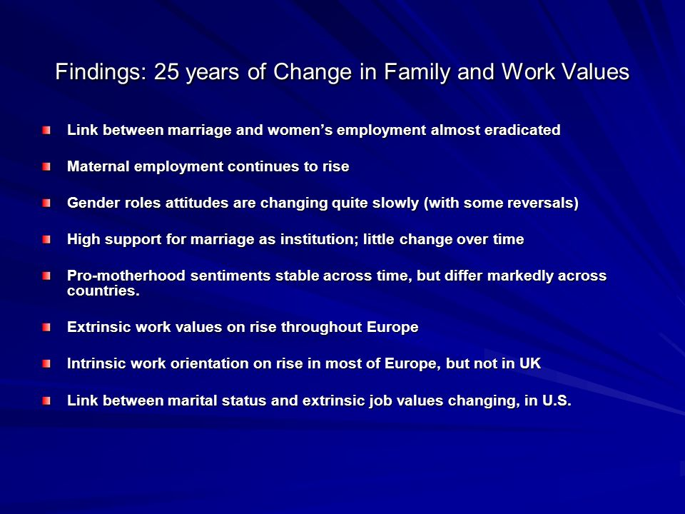 Findings: 25 years of Change in Family and Work Values Link between marriage and womens employment almost eradicated Maternal employment continues to rise Gender roles attitudes are changing quite slowly (with some reversals) High support for marriage as institution; little change over time Pro-motherhood sentiments stable across time, but differ markedly across countries.