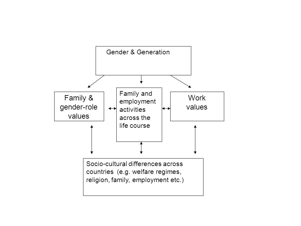 Family & gender-role values Work values Gender & Generation Socio-cultural differences across countries (e.g.