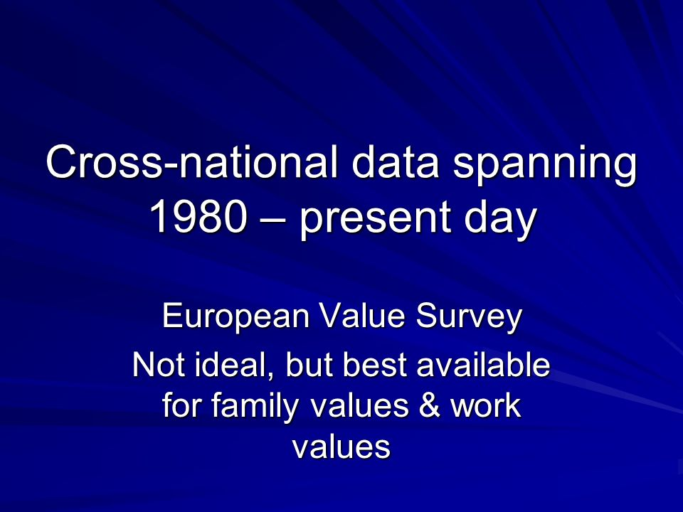 Cross-national data spanning 1980 – present day European Value Survey Not ideal, but best available for family values & work values