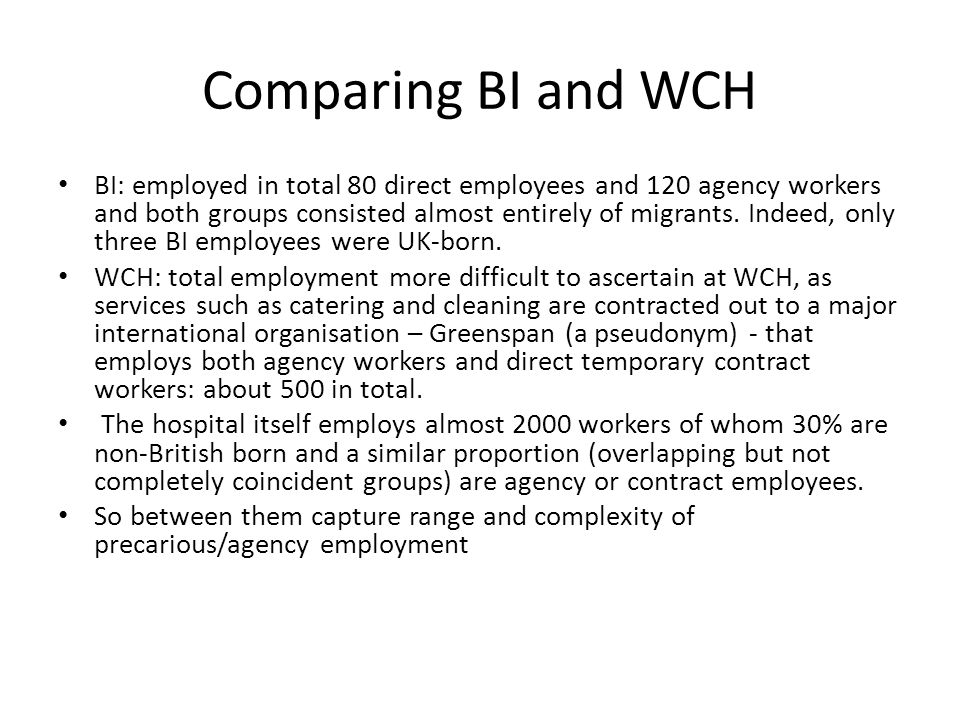 Comparing BI and WCH BI: employed in total 80 direct employees and 120 agency workers and both groups consisted almost entirely of migrants.