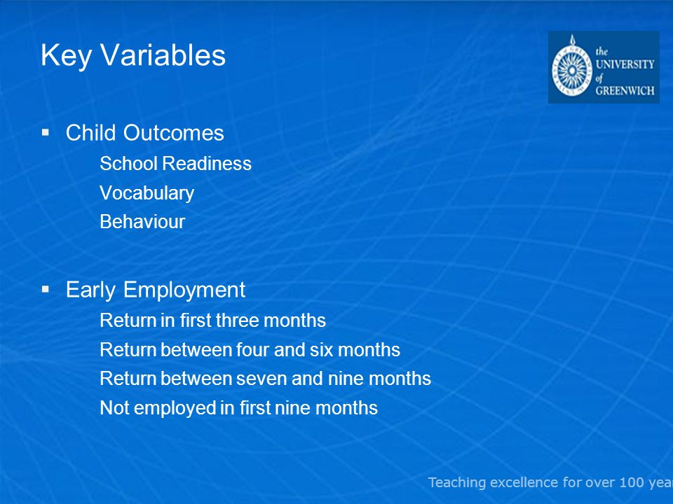 Teaching excellence for over 100 years Key Variables Child Outcomes School Readiness Vocabulary Behaviour Early Employment Return in first three months Return between four and six months Return between seven and nine months Not employed in first nine months