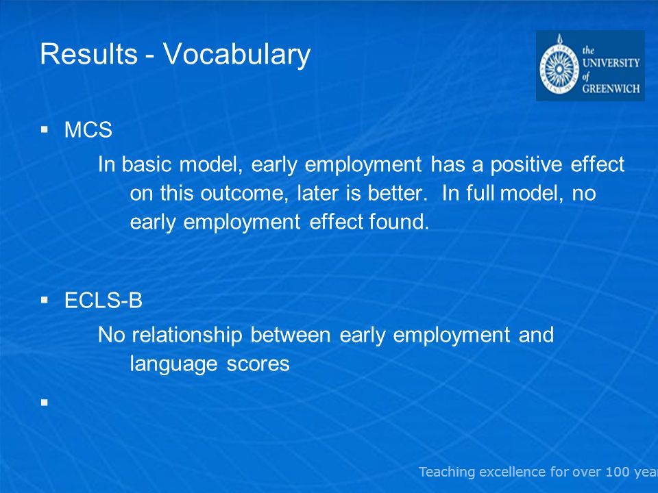 Teaching excellence for over 100 years Results - Vocabulary MCS In basic model, early employment has a positive effect on this outcome, later is better.