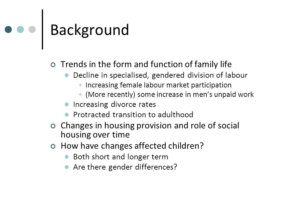 Background Trends in the form and function of family life Decline in specialised, gendered division of labour Increasing female labour market participation (More recently) some increase in mens unpaid work Increasing divorce rates Protracted transition to adulthood Changes in housing provision and role of social housing over time How have changes affected children.