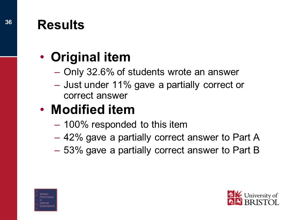 36 Results Original item –Only 32.6% of students wrote an answer –Just under 11% gave a partially correct or correct answer Modified item –100% responded to this item –42% gave a partially correct answer to Part A –53% gave a partially correct answer to Part B