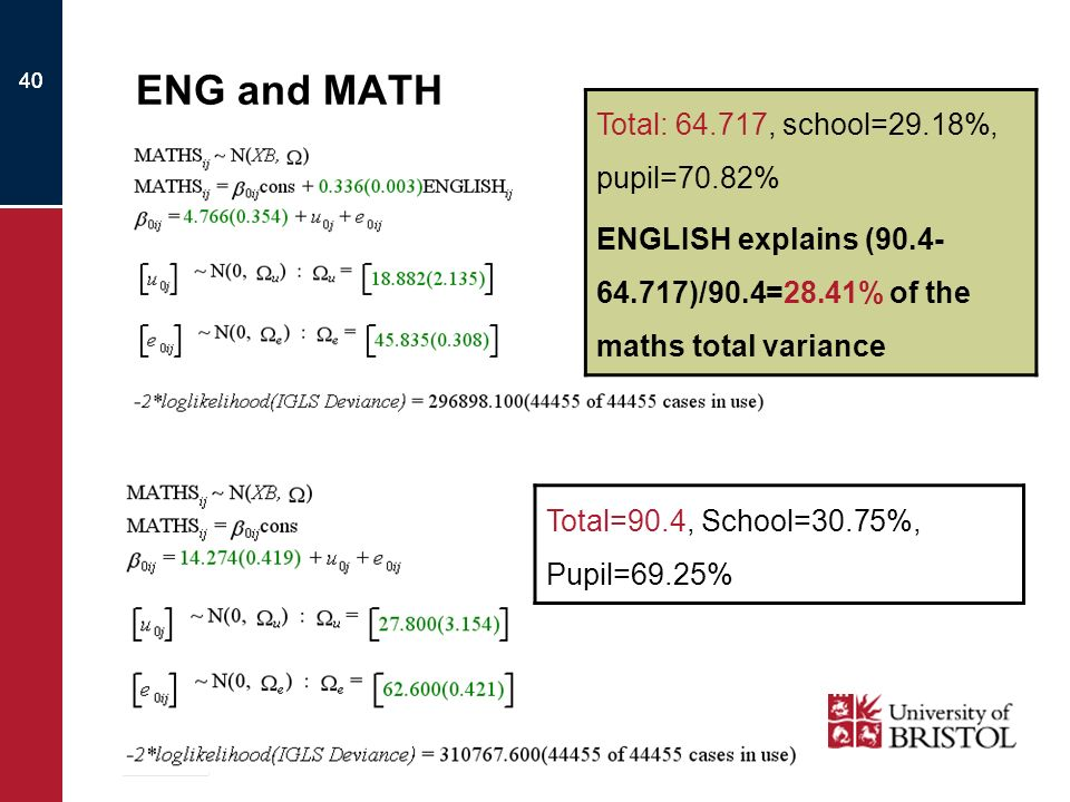 40 ENG and MATH Total: 64.717, school=29.18%, pupil=70.82% ENGLISH explains (90.4- 64.717)/90.4=28.41% of the maths total variance Total=90.4, School=30.75%, Pupil=69.25%