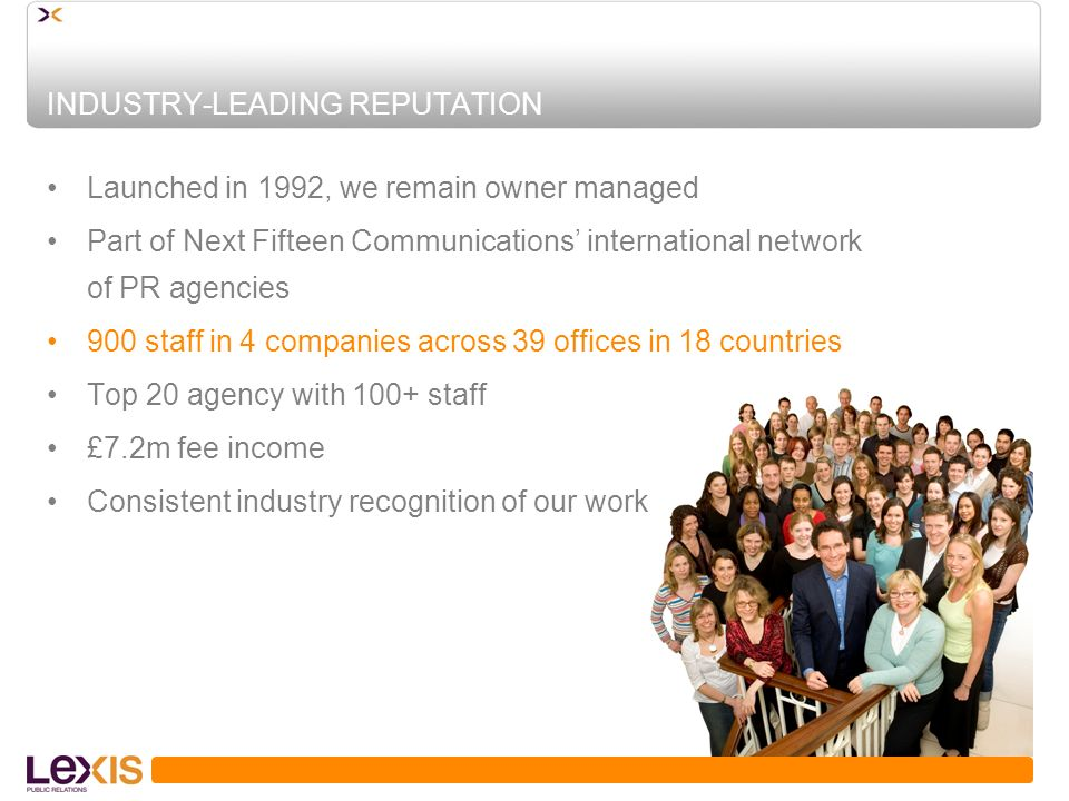 INDUSTRY-LEADING REPUTATION Launched in 1992, we remain owner managed Part of Next Fifteen Communications international network of PR agencies 900 staff in 4 companies across 39 offices in 18 countries Top 20 agency with 100+ staff £7.2m fee income Consistent industry recognition of our work