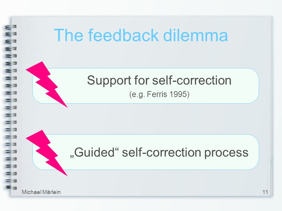 Michael Märlein11 The feedback dilemma Support for self-correction (e.g.