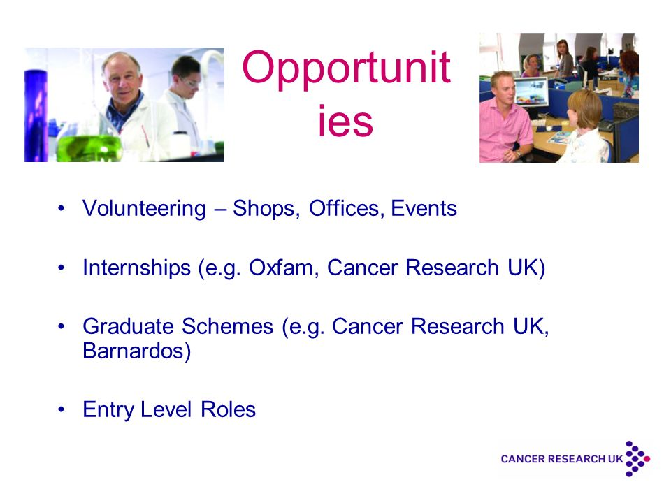 Opportunit ies Volunteering – Shops, Offices, Events Internships (e.g.
