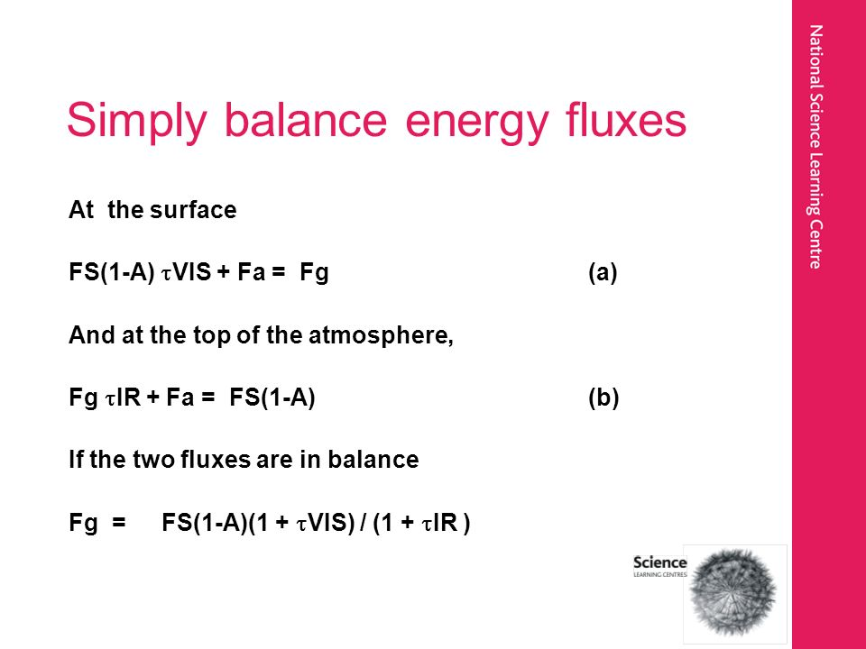 Simply balance energy fluxes At the surface FS(1-A) VIS + Fa = Fg(a) And at the top of the atmosphere, Fg IR + Fa = FS(1-A)(b) If the two fluxes are in balance Fg = FS(1-A)(1 + VIS) / (1 + IR )