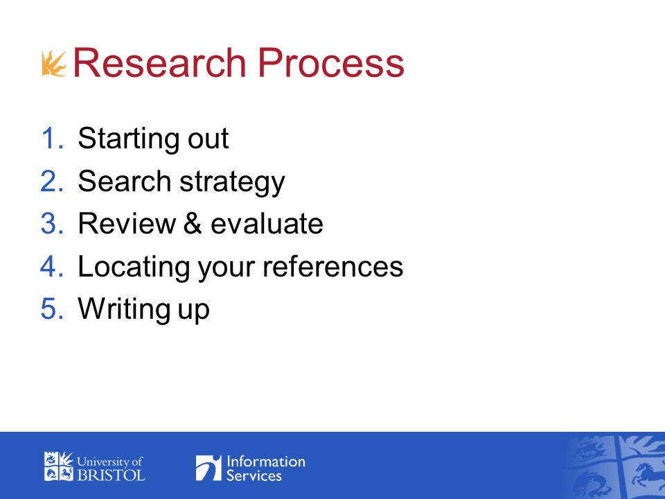 Research Process 1.Starting out 2.Search strategy 3.Review & evaluate 4.Locating your references 5.Writing up