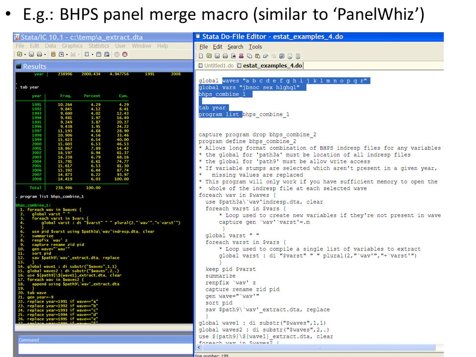 E.g.: BHPS panel merge macro (similar to PanelWhiz)
