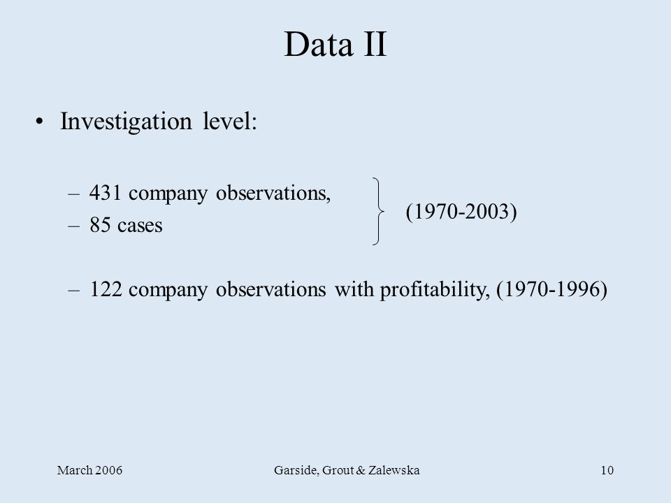 March 2006Garside, Grout & Zalewska10 Data II Investigation level: –431 company observations, –85 cases –122 company observations with profitability, (1970-1996) (1970-2003)