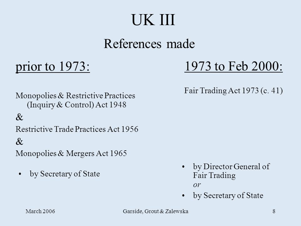 March 2006Garside, Grout & Zalewska8 UK III 1973 to Feb 2000: Fair Trading Act 1973 (c.